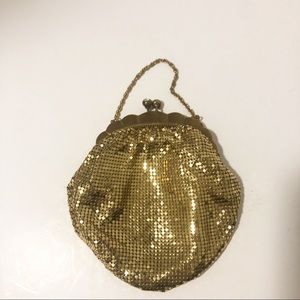 Vintage Gold Beaded Small Purse Clutch Kiss Lock